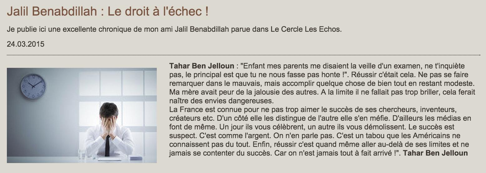Tahar Ben Jelloun échec