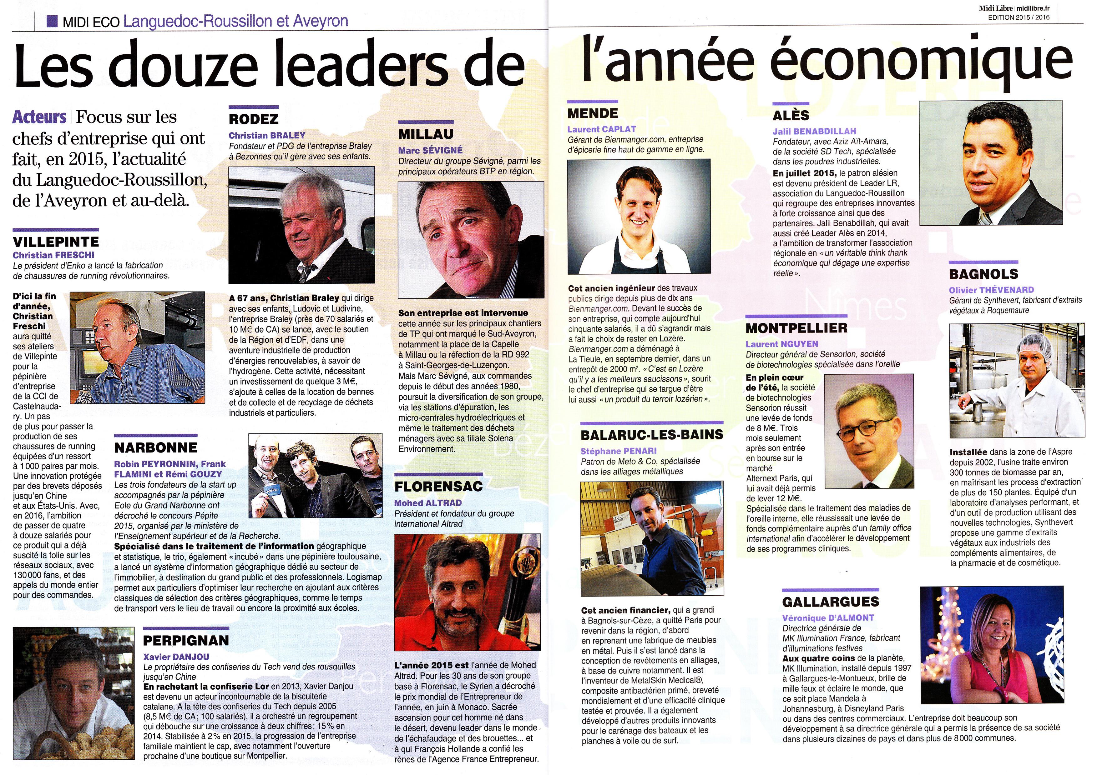 douze leaders de l'année économique 2015